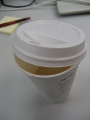 Dripping cup of coffee (wirednerd) Tags: cup coffee paper plastic drip starbucks cover dripping lid achtung lifehack