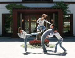 three ninjas! (day 96) (TeeRish) Tags: jumping ninja clones 365days 10inexplore jonisbendy thisiswhathappenswhenyouareboredatwork andyoudontcareaboutmakinganassofyourselfinfrontoftheentirebuilding ohyestherearepeopleworkinginthebuildingbehindme infactwereinacourtyard thebuildingandofficesandpeopleinthoseofficessurroundusonthreesides flickr:folk=frckr 9inexplore