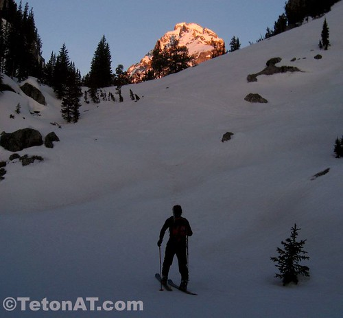 Approaching the Platforms with alpenglow on the Middle Teton