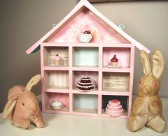 tiny treasures! (holiday_jenny) Tags: pink house bunnies cakes cake collage japan vintage dessert miniatures stuffed box handmade mixedmedia mini collection cupcake papers bakery sweets rabbits scraps dollhouse