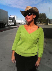 Truckstop cowgirl (toastforbrekkie) Tags: cameraphone green sunglasses truck utah sweater semi truckstop cowgirl denise cowboyhat bigrig 1029061037
