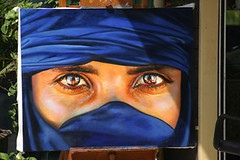 The #1 Tourist Painting (braddah karl) Tags: blue portrait woman afghanistan art girl canon painting asian thailand photo artwork eyes women asia refugee muslim famous paintings picture tourist exotic cover photograph 10d afghan thai oil 1983 ng orient siam huahin nationalgeographic gula stevemccurry afghani mccurry sharbatgula whelchel shabatgula karlwhelchel nationnalgeographic braddahkarl arcyilic