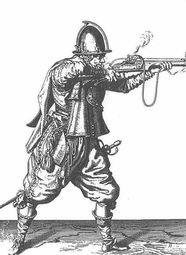 Harquebusier or caliverman discharging his weapon