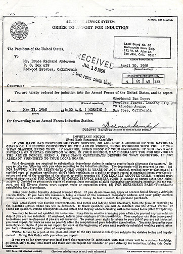 1968 Induction Notice