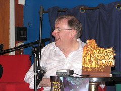 Christopher Priest being interviewed, laughing