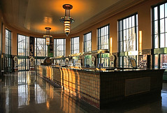 Water Bar (FotoEdge) Tags: water glass colors stone clouds reflections shadows warmth missouri springs dreams minerals richness winds moods patina hotsprings hallofwaters excelsiorsprings tiled waterbar grittiness impressedbeauty longestintheworld