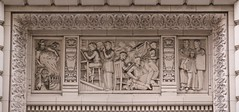 Newspaper Printing Bas Relief On A Seattle Times Square Doorway Lintel, 414 Olive Way (Seattle, WA) - by takomabibelot