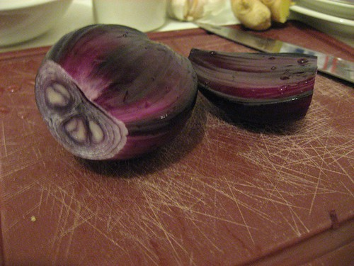 One onion, two halves