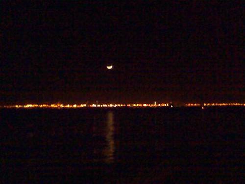 Moon over Long Beach