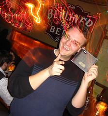Another lucky guy gets a free 120 Days CD at Hej Hej (MelissaInWheaton) Tags: cafesaintex hejhej