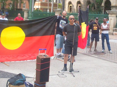 Andrew Boe speaks at Invasion Day Rally, Parliament House, George St, Brisbane, Queensland, Australia 070126