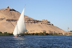 Nile at Aswan (Merlin_1) Tags: 2005 africa cruise november temple egypt nile arabia aswan tombs felucca