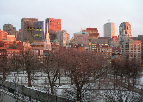 Boston glows at sunset