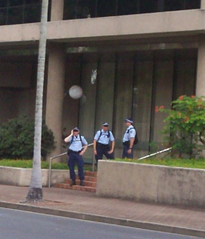 Police on Alice St side of 80 George St, Invasion Day Rally and March, Parliament House, George St, Brisbane, Queensland, Australia 070126
