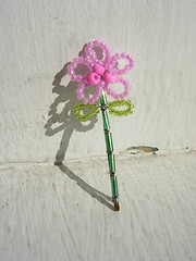 Custom flower for ...dotty... (Knit n Frog) Tags: pink flowers green kids catchycolors hair douglass etsy custom rutgers beaded dotty hairaccessories hairpins knitnfrog