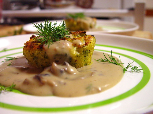 Broccoli Polenta with Mushroom Dill Gravy