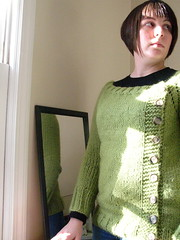 My thoughful pose (stupid clever) Tags: sweater knit handknit peagreen buttonysweater buttony