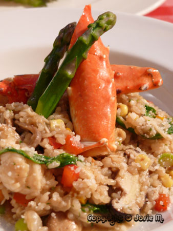 Boiled Crab Legs & Veggie risotto
