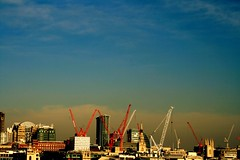 catchy colours (microabi) Tags: blue red building london skyline catchycolours southbank cranes riverthames thefuture coolsky looknorth southbankview