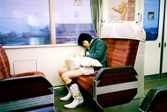 *sudden allure*ticket to ride (prudence) Tags: sleeping people film girl japan train alone afternoon weekend saturday natura tired ppl fujifilm filmcamera cart fukuoka iso1600 kyushu japanesegirl classica naturaclassica
