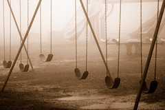 No Recess Today IV. (BamaWester) Tags: park rain playground misty fog sepia huntsville alabama foggy swingset bamawester montesanostatepark napg goldenphotographer