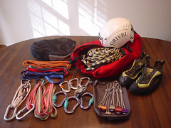 My humble climbing rack (mike.palic) Tags: helmet rope climbing rack carabiner grivel
