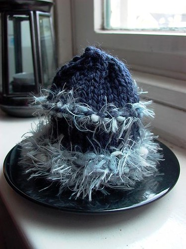 blue fluff egg cosy