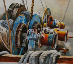Winch One Prismacolor (gossamerpromise) Tags: abstract boats rust mechanical drawing ropes winch coloredpencil shrimpboats yourmasterpaintings