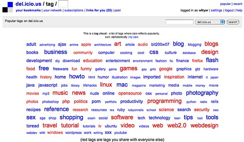 delicious tag cloud screenshot