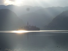 Bled Island (lesraquettes) Tags: travel slovenia lakebled bledisland assumptionofmaryspilgrimagechurch churchandmountains