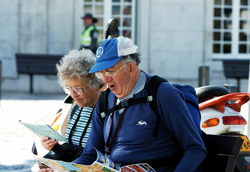 Old tourist couple