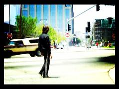 Paul Is Dead (See El Photo) Tags: people 15fav signs man male truck walking 100v person la losangeles lomo walk stranger barefoot 100views 200views barefeet crosswalk 1f faved shimmy downtownlosangeles 111v1f