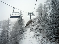 On the chair (snafflemeister) Tags: trees snow courmayeur chairlift