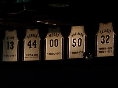 Bow Your Head in Respect: Retired Numbers of the San Antonio Spurs (Strange Botwin) Tags: basketball sanantonio spurs ninja moore numbers jerseys bball hoops retired nba silas robinson ballers baloncesto worldchampion sanantoniospurs worldchampions gervin
