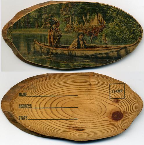 Postcard:  In Canoe -- On Wood