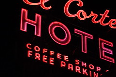 the killer hot coffee shop (helveticaneue) Tags: pink vegas vacation sign night typography hotel march downtown neon lasvegas nevada stock fremontstreet 2007 elcortez fremontstreetexperience thekiller