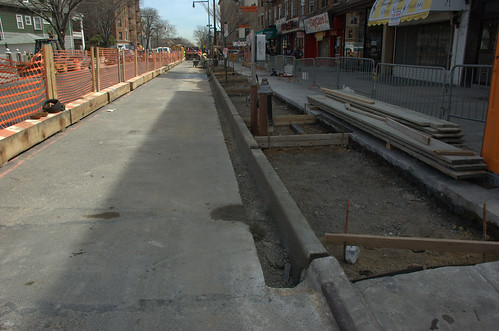 Curb and sidewalk reconstruction in progress, Cortelyou Road, South side, looking East from Stratford Road