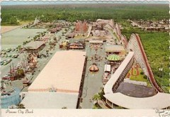 Miracle Strip Amusement Park aerial view 60s/70's, Panama City Beach, Florida. (stevesobczuk) Tags: red seaside florida amusementpark rollercoaster panamacitybeach starliner miraclestrip redneckriviera us98 frontbeachrd