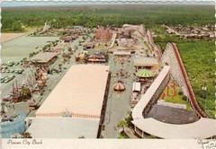 Miracle Strip Amusement Park aerial view 60s/70's, Panama City Beach, Florida. (stevesobczuk) Tags: red seaside florida amusementpark rollercoaster panamacitybeach starliner miraclestrip redneckriviera us98 frontbeachrd