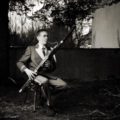 Bassoon (magnusmagnus) Tags: camera portrait bw music playing mediumformat outside iceland uniform instrument kiev reykjavk ilford bassoon panf 88cm