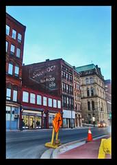 UpTown (Les VegeTables) Tags: street sky canada colors sign contrast photoshop construction traffic sony cybershot uptown newbrunswick tobacco saintjohn