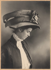 young victorian lady with a big fancy hat (deflam) Tags: portrait woman girl hat lady vintage profile victorian familyphotos edwardian bighat