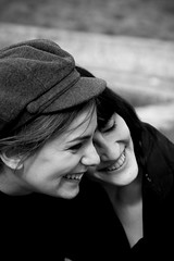 Friendship (Pensiero) Tags: portrait blackandwhite bw woman rome roma smile hat teatro women friendship smiles kira germana centrifuga wwwstefanocorsocom