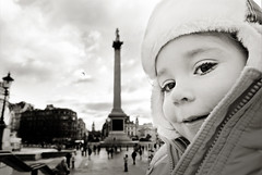 tourist. (sesame ellis) Tags: blackandwhite cold london girl kid toddler child mykid trafalgarsquare year3 surprisetrip racheldevine wwwracheldevinecom