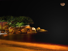 Howling at the moon! (lRoda) Tags: longexposure sea brazil moon paran brasil photoshop mar noturna lua moonlight canons2 nighshot blueribbonwinner caiob abigfave aleroda