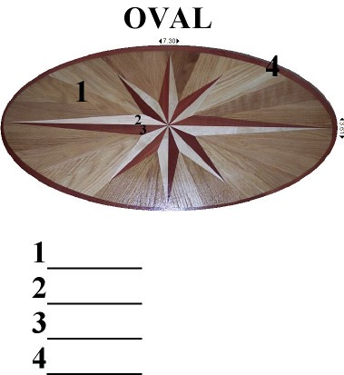 Wood selection picture  for an oval shaped floor inlay