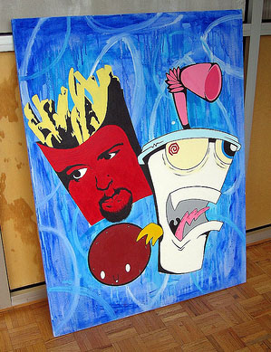photo of a painting of the Aqua Teen Hunger Force by Flickr user medildo