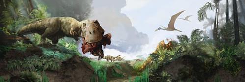 trex_mural quetzalcoatlus& pleurocoleus