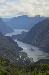 Our first glimpse of Doubtful Sound (aggleton) Tags: newzealand bus d50 sound southisland aotearoa doubtful fiord doubtfulsound fiordland wilmotpass