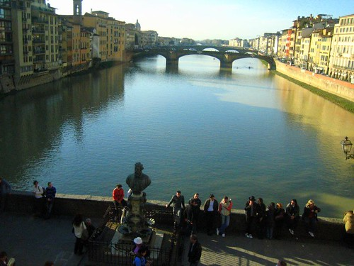 View over the Ponte Vecchio, facing the Ponte Santa Trinita, from inside the Vasari Corridor